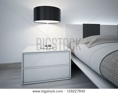 Contemporary monochrome bedroom design. Stylish bedside table near bed with neon lights behihd headboard. Lamp with black lampshade.