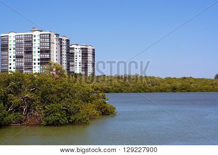 Looking out over a river towards modern apartment condo buildings on the horizon on the gulf of mexico coast of florida.
