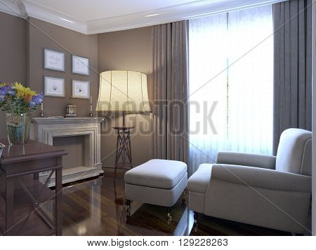 Armchair near fireplace provence design of lounge. Shiny parquet floor marble fireplace cladding. Large floor lamp and a wall of dark beige. 3D render