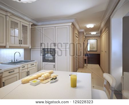 White kitchen art deco style. Design ideas for a traditional kitchen with white cabinets marble countertops white backsplash and stainless steel appliances. 3D render