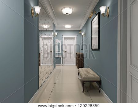 Luxury entrance hall art deco design. Corridor with blue matt walls and white marble flooring. White ceiling and doors. Decorated wall mirror. 3D render