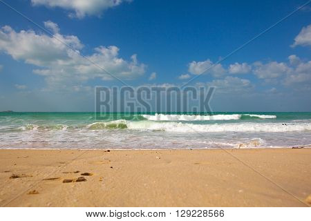 beach in Dubai with surfers and turquoise sea