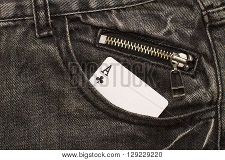 ace card inside gray jeans pocket with zip lock closeup