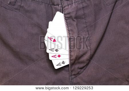 four ace cards inside purple jeans fly closeup poster