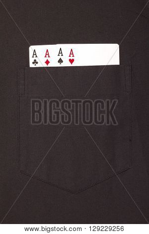 four ace cards inside front pocket black male shirt closeup