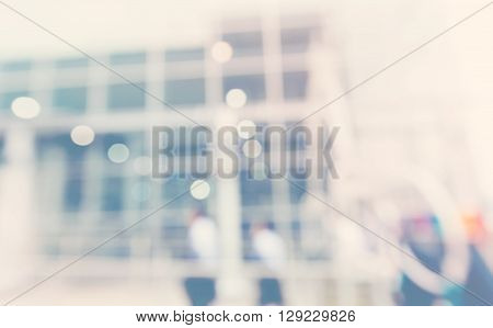 Blurred Abstract Background Workers Outside An Office Building