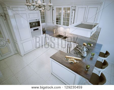Luxury L-shaped kitchen white color with bar. 3D render