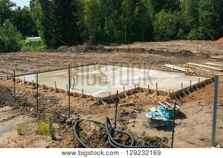 The Foundation for the house on the construction site. Made formwork.
