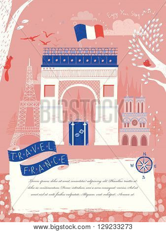 lovely France travel poster with Triumphal arch