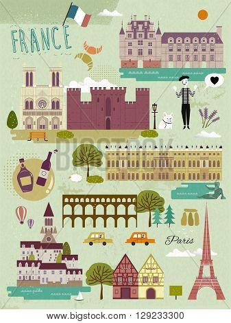 lovely France travel impression symbols in flat design