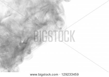 Abstract art. Grey smoke hookah on a white background. Background for Halloween. Texture fog. Design element. The concept of aromatherapy.