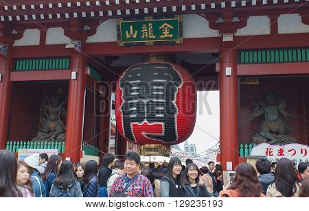 TOKYO -APR 02 : Unidentified tourists in the Senso-ji Temple on Apr 02 2016 in TokyoJapan.The Senso-ji Buddhist Temple is the symbol of Asakusa and one of the most famous temples in all of Japan