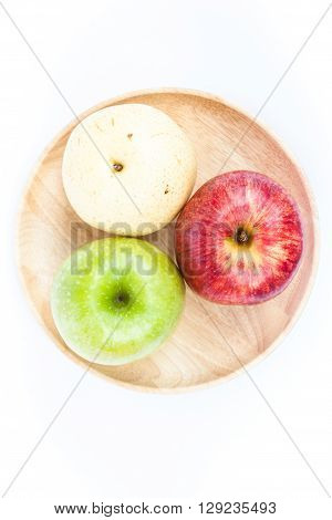 Three different kind of apples on white background, stock photo