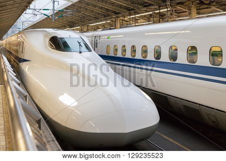 TOKYO - APR 05 : The 700 Series bullet train at Tokyo station on APR 05 2016 in Tokyo. 700 Series service as