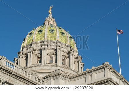 Dome of the Pennsylvania State Capitol building Harrisburg PA