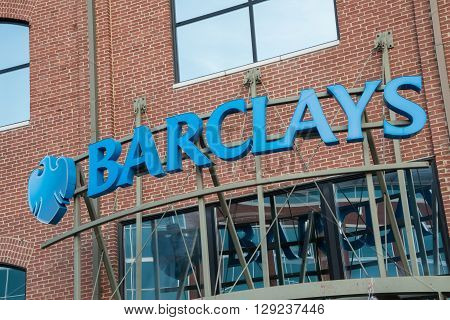 Wilmington, DE, USA - April 24, 2016: Sign above the entrance to a branch of Barclays Bank in Wilmington Delaware.
