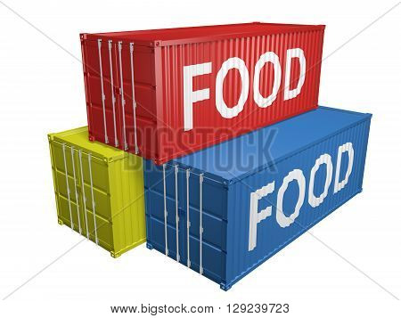 Shipping import and export containers labeled for food, 3D rendering