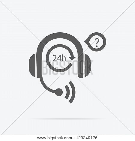 Support icon. Technical support. Service technical business consultant chat communication, internet web online technology contact. Man support operator. Computer technician. Headphones with microphone