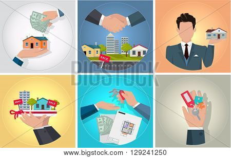 Sale purchase and rental of property. Bunch of keys in his hand. Agent or seller of real estate holding staying home. Handshake deal when buying a new home and send money. Vector illustration