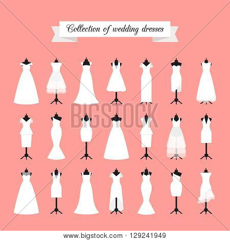 Wedding dresses. Fashion bride dress for bridal shower invitation. Vector illustration