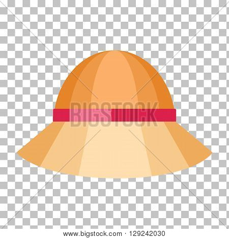 Summer hat isolated on checkered background. Fashionable orange Panama hat with red ribbon for protection from sun and rain weather conditions. Garment for wearing on the head. Vector illustration
