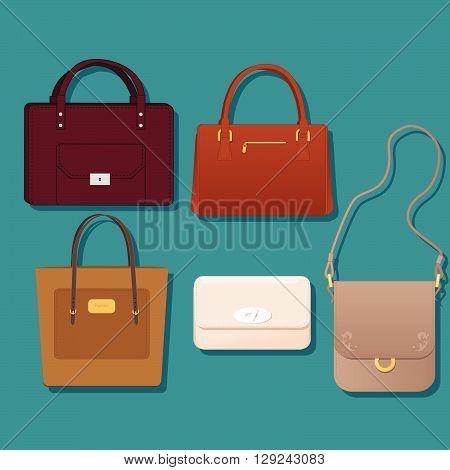 A women's handbag set, five styles of fashion purses