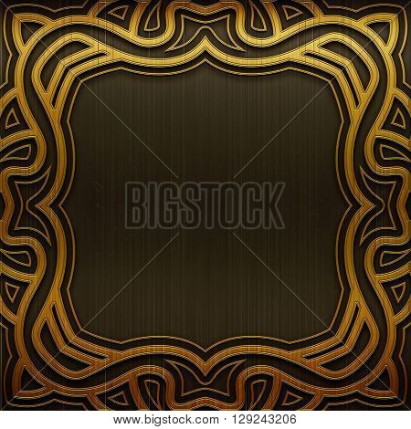 Metal background. Carved metal plate. Luxury and rich metal design. Retro metal plate