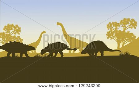 Ankylosaurus silhouette of scenery in the forest