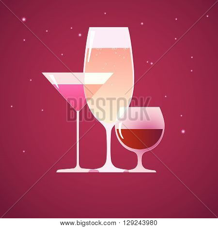 Three glasses with a cocktail, brandy and wine on a purple sparkly background