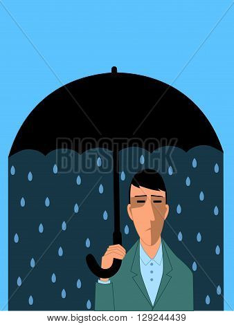 Clinical depression, sad man under umbrella, vector cartoon