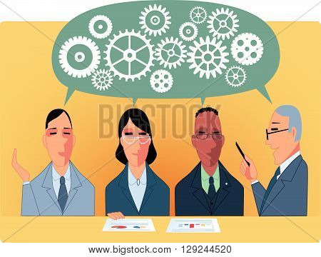 Business meeting or brainstorm, EPS8 vector illustration poster