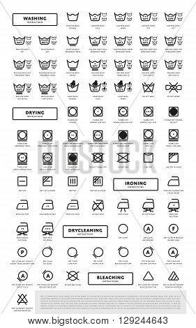 Laundry washing symbols icon set, vector illustration