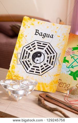 Conceptual image of Feng Shui with Bagua diagram