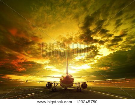 passenger plane ready to take off on airport runways use for traveling cargo air transport business