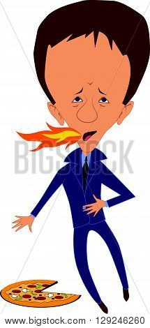 Man with heartburn from pizza, EPS8 vector illustration