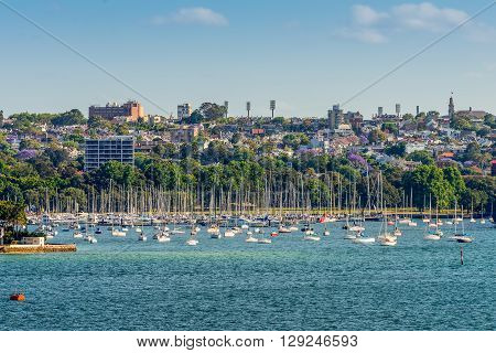 Sydney Australia - November 12 2014: View on many sailboats and residential housing in Double Bay from Sydney harbour Sydney New South Wales Australia. Double Bay is a harbourside eastern suburb of Sydney 4 kilometres east of the Sydney central business d