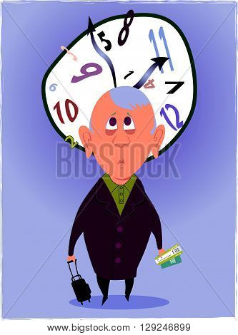 Jet Lag. Man, confused and disoriented looking at a clock with mixed up hours