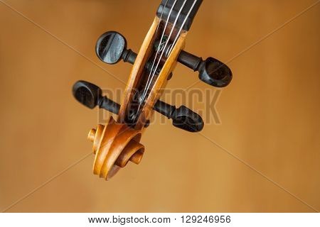 Old violin music concept with blur in the background