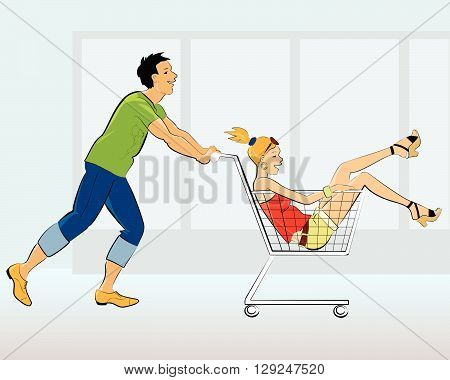 A guy pushing a shopping cart with a girl in it