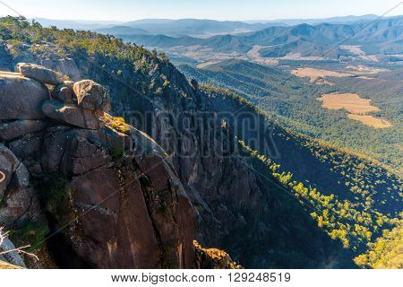 View of Australian Alps from Mt Buffalo National Park, The Gorge lookout.