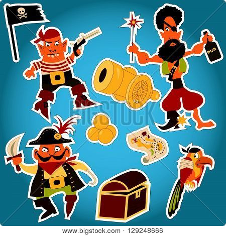 Cartoon pirates stickers, pirates, parrot, chest, treasure map, cannonballs, Jolly Roger