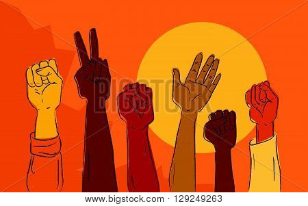 Hands at political protest march, EPS8 vector illustration
