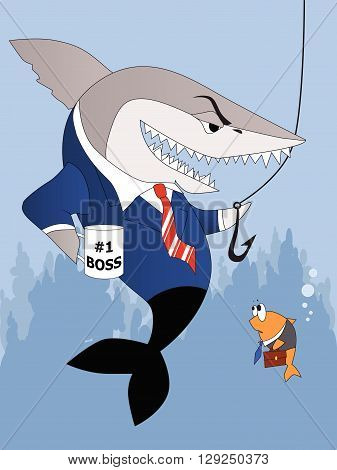 Business shark is a good boss, EPS8 vector illustration