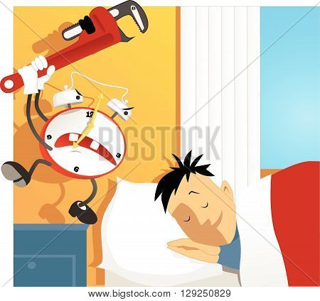 Crazy alarm clock hitting a sleeping man with a wrench poster