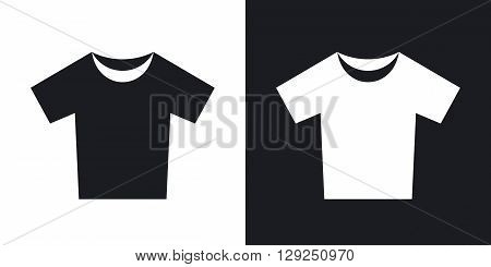 T-shirt icon stock vector. Two-tone version on black and white background