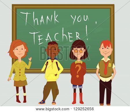 Thank you teacher, a group of schoolchildren in front of a board