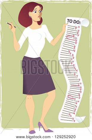 Stressed woman holding a long to-do list EPS8 vector illustration