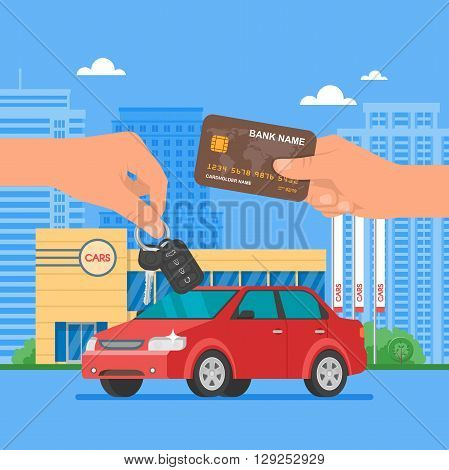 Car sale vector illustration. Customer buying car from dealer concept. Salesman giving key to new owner. Hand holding credit card. Car rental service concept.
