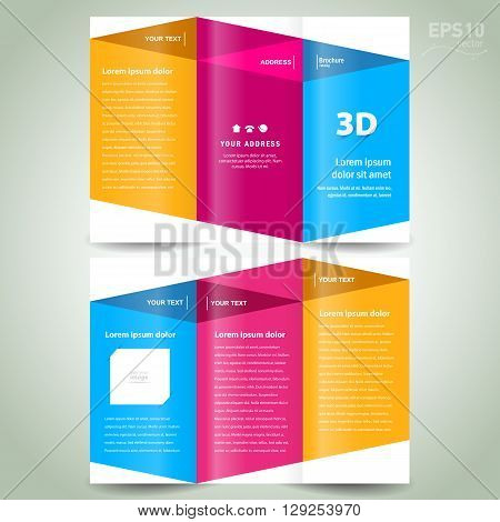 brochure design template 3d dimensional folder leaflet colored element white background