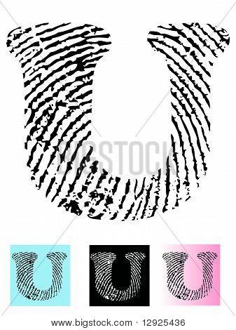 Fingerprint Alphabet Letter U